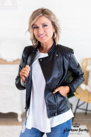 sku12048 | Faux Leather Moto Jacket