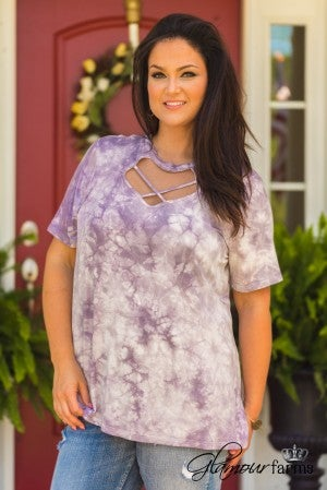 Curvy| Tie Dye Another Day Top - Dusty Purple