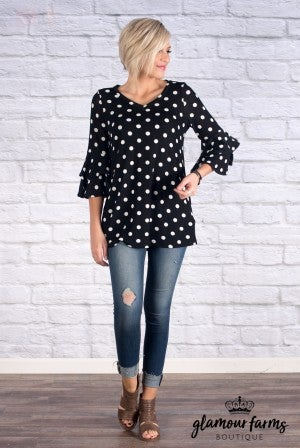 Dot To Dot Bell Sleeve Top