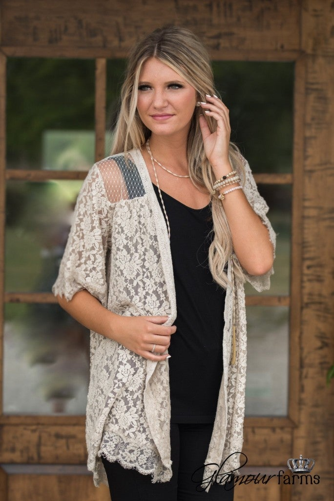 What A Beautiful Day Lace Cardigan - Natural