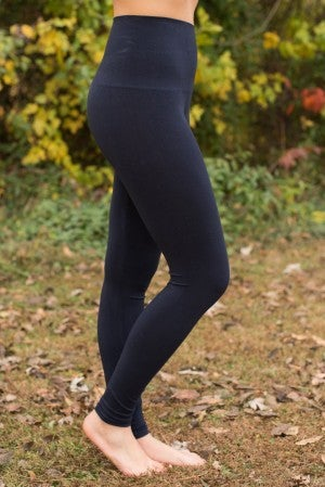Curvy| Ahh-Mazing Tummy Tuck Ankle Legging - Ink/Navy