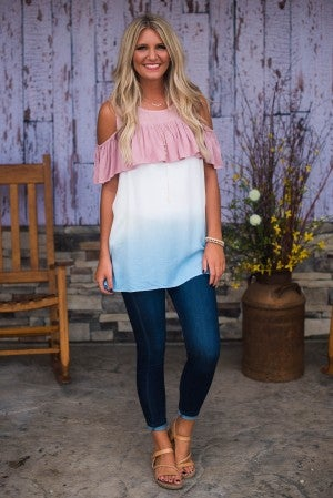 Charming In Ombre Cold Shoulder Top