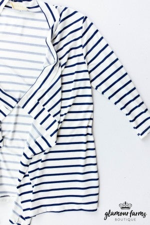 sku13413 | **Daily Deal** Striped Open Front Cardigan