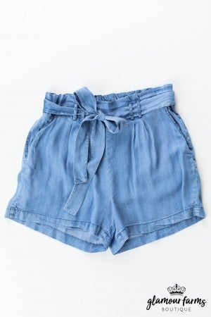 sku12495 | Chambray Paper Bag Shorts
