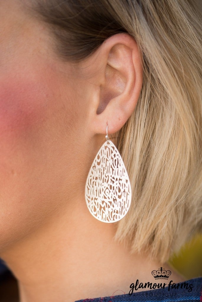 London Filigree Earrings - Matte Silver