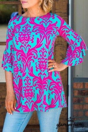 Belle Of The Ball Damask Top/Tunic