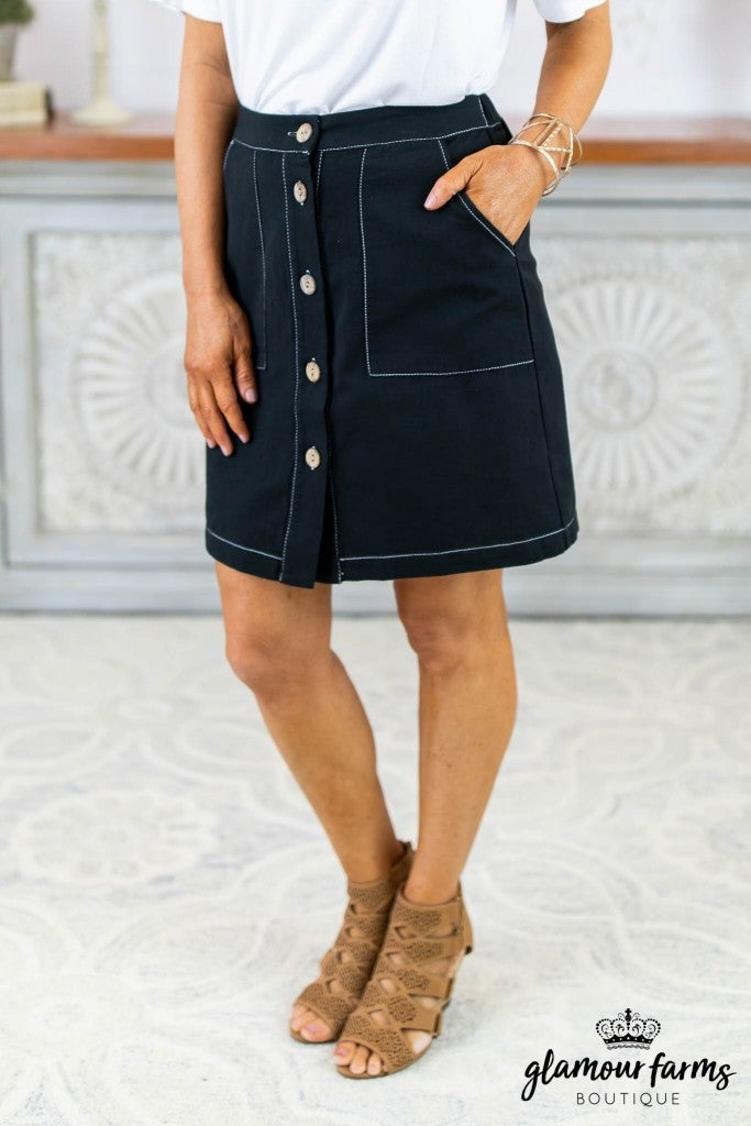 Casual Contrast Button Skirt