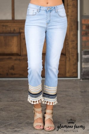 Two To Tassel Embellished Crop Jean