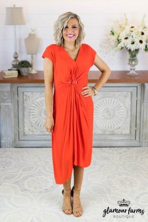 sku8195 | Split Hem Front Knot Dress
