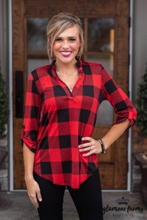 All Out Plaid Top