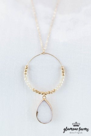 sku8159 | Teardrop And Beaded Circle Necklace