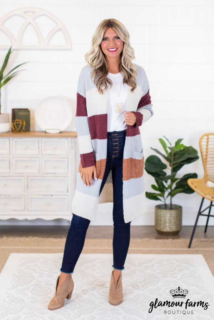 sku8970 | Color Block Sweater Cardigan