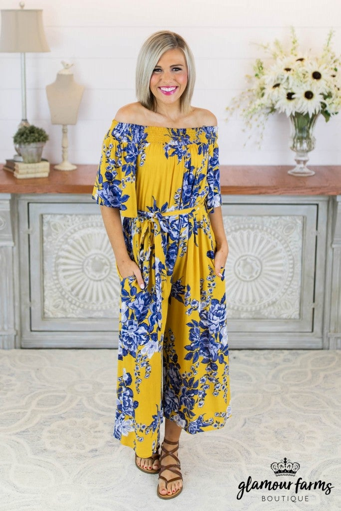 sku8331 | Floral Off Shoulder Jumpsuit