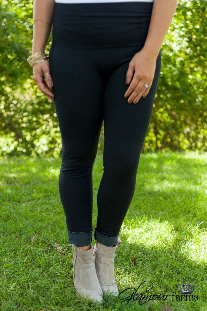 Curvy| Ahh-Mazing Tummy Tuck Denim Legging - Black