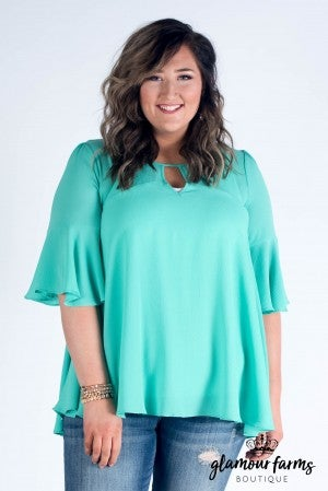All The Frills Ruffle Sleeve Top/Tunic