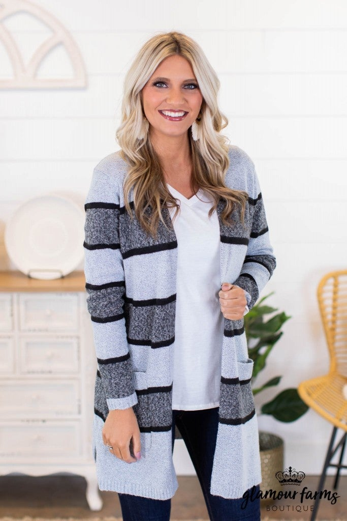 sku9823 | Striped Sweater Cardigan