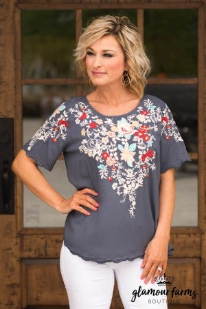 Have Faith Floral Embroidered Top