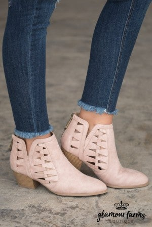 Travis Cut-Out Ankle Boot - Blush
