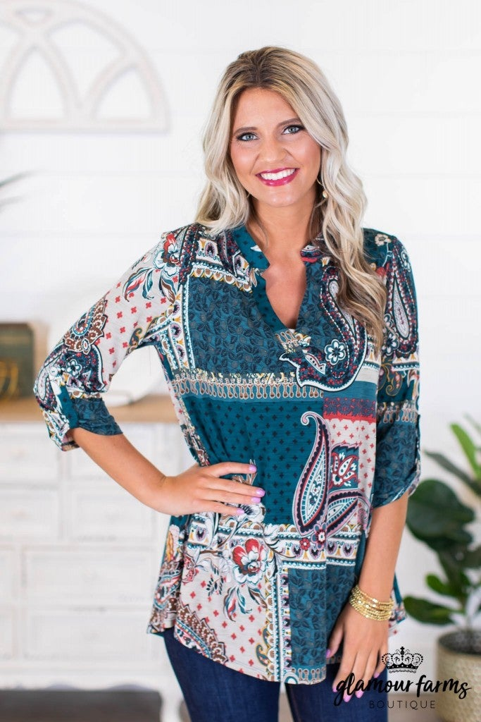 sku8613 | Paisley V Neck Tunic