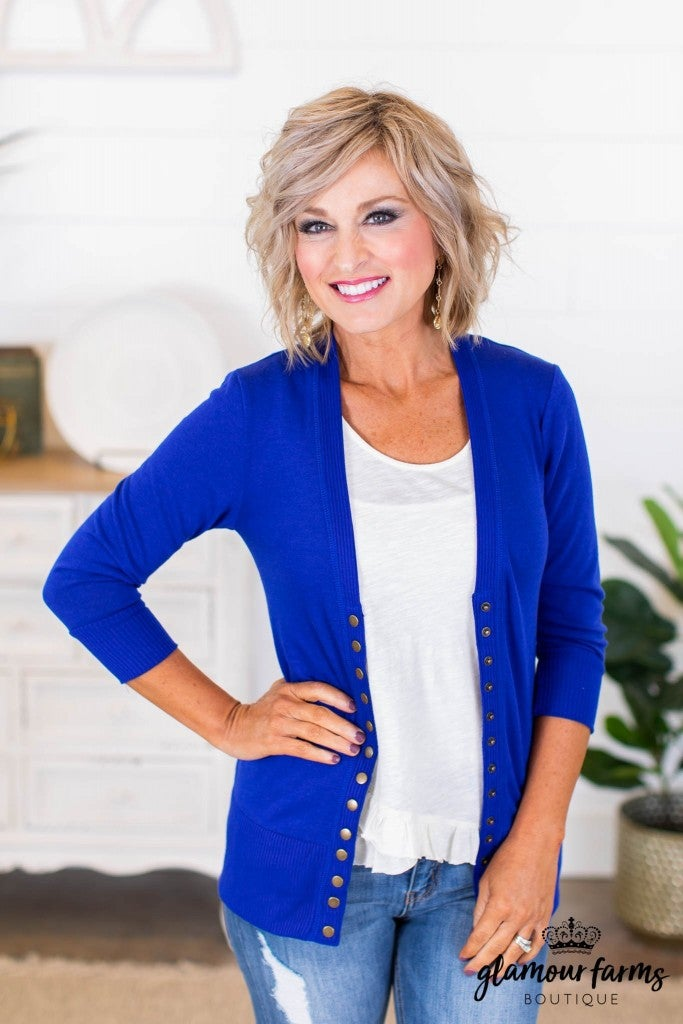 sku8448 | **Daily Deal** Three Quarter Sleeve Snap Cardigan
