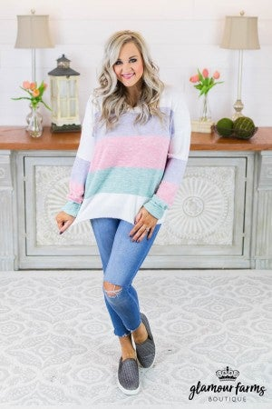 April Horizon Color Block Sweater