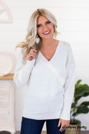 sku10044 | **DOORBUSTERS** Faux Wrap Sweater