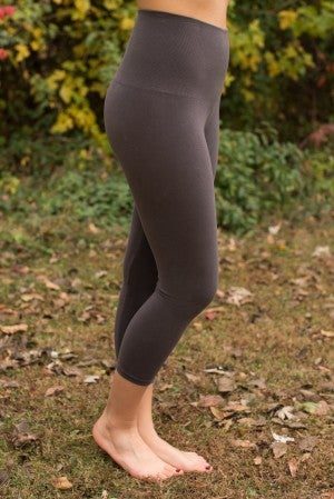 Curvy| Ahh-Mazing Tummy Tuck Crop Legging - Dark Gray