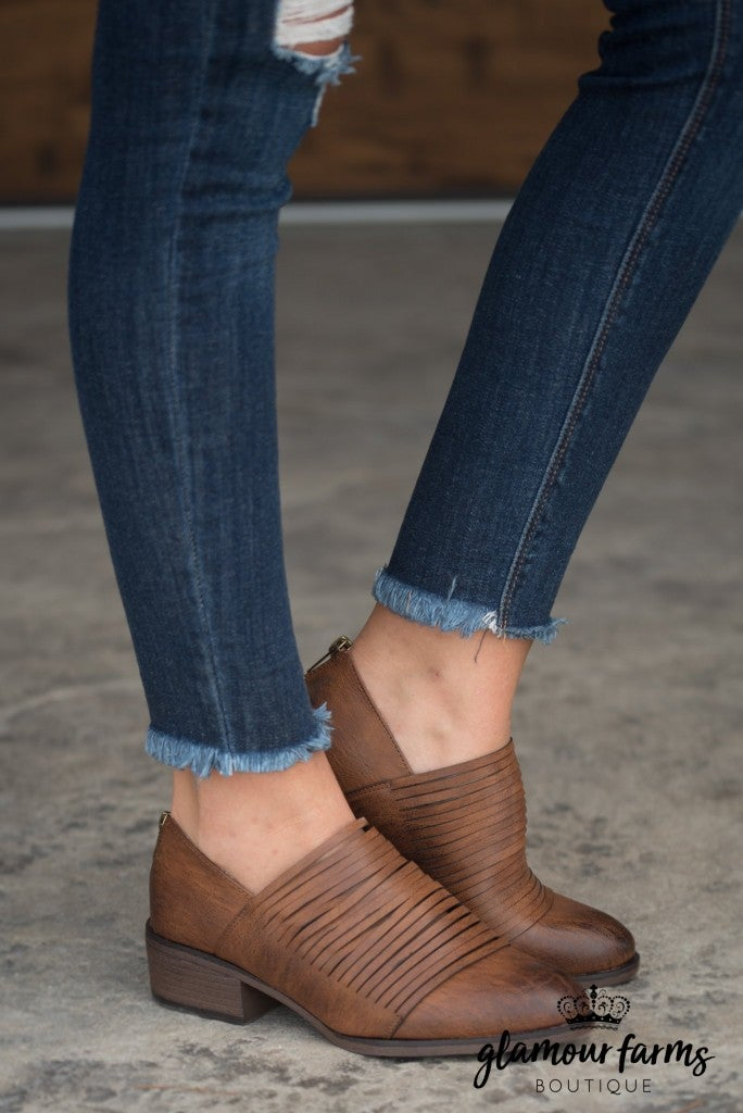 Tabby Strappy Bootie - Whiskey