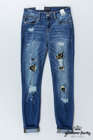sku13242 | Patched Destroyed Skinny Jean