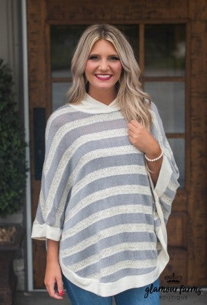 Everything For You Stripe Poncho Top