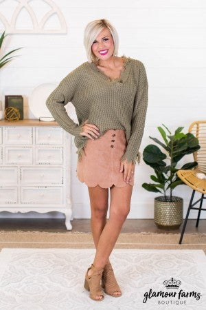 sku9527 | Faux Suede Scalloped Skirt