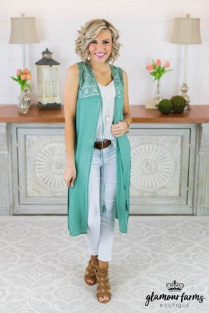 **Daily Deal** Catching Light Lace Duster Vest