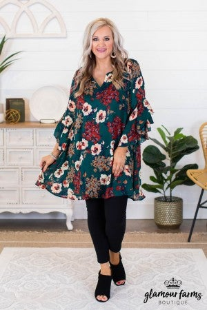 sku9444 | Floral Ruffle Bell Sleeve Dress