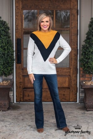 Tres Bueno Color Block Sweater