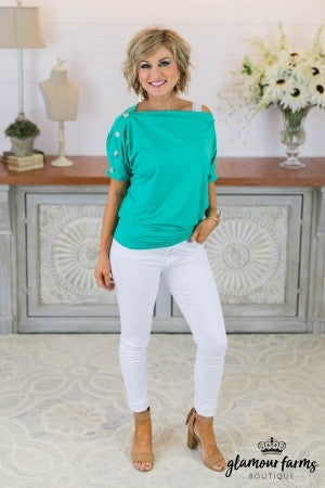 **Daily Deal** Sassy Side Button Top