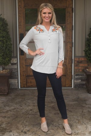 Floral Sophistication Embroidered Top