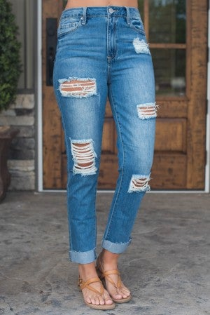 Lacy Hi-Rise Raw Edge Ankle Jean