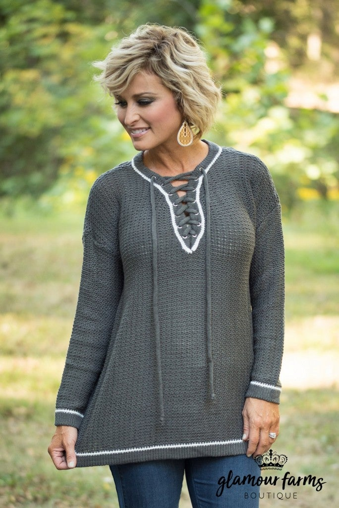 Welcome Home Lace-Up Sweater - Charcoal