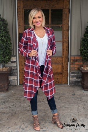 Cold Don't Bother Me Plaid Cardigan