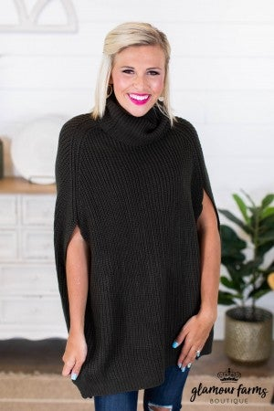 sku9523 | **Daily Deal** Turtleneck Sweater Poncho