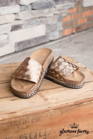 Mia Embossed Slide Sandal