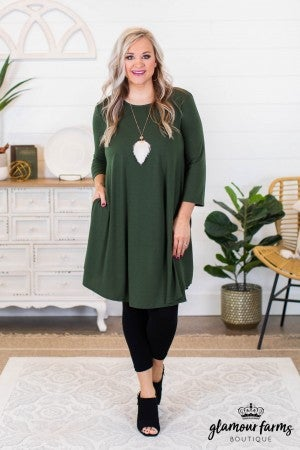 sku9509 | **Daily Deal** Round Hem Dress