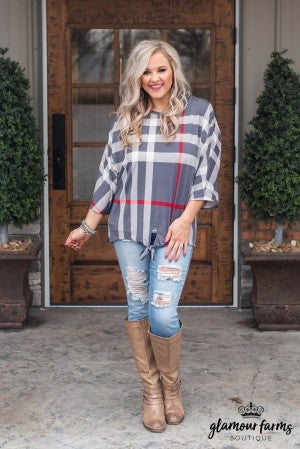Plaid For You Front Tie Top