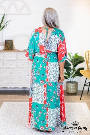 sku8865 | Floral Patchwork Maxi Dress