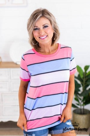 sku12198 | **Daily Deal** Striped Ringer Top