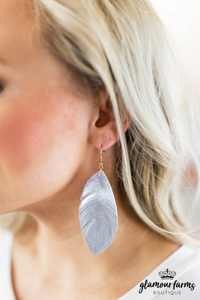 sku8042 | Stitch Feather Leather Earrings
