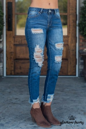 Renee Mid-Rise Destructed Jean