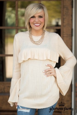 Lora's Ruffled Bell Sweater - Ivory