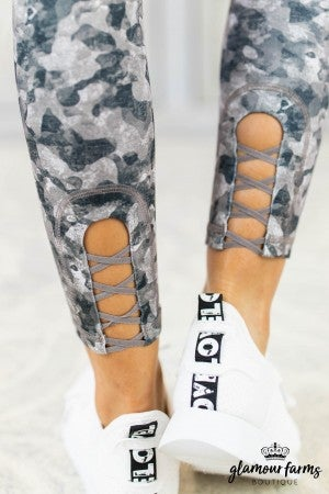 Camo Mesh Panel Active Legging