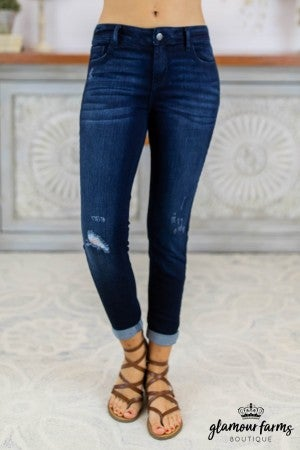 sku8345 | Distressed Roll Hem Skinny Jean